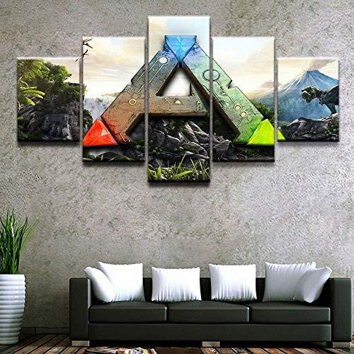 XIANGLL Leinwanddruck,5PC Mode, Eleganz, Retro HD gestreckt und für Moderne Wohnzimmer Home Decor Poster XXL Ark Survival Evolved Logo