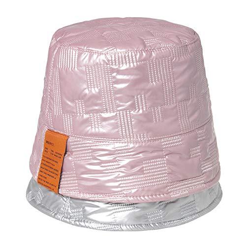 SKGQZD Personalisierter Laser-Eimerhut aus hellem Leder, modischer PU-Fischerhut, Wildbeckenhut im koreanischen Stil-Rosa_58cm