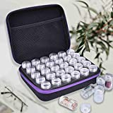Diamond Painting Storage Containers, 30 Slots EVA Shockproof Beads Storage Organizer Case for Diamond Embroidery Painting Art Accessories Sewing Pills Container with 30 Grids Plastic Jars (Purple)