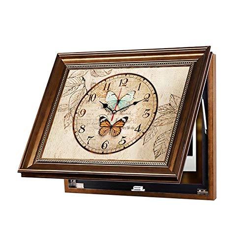 WANGXINQUAN Dekorative Wanddekoration für Wohnzimmer, nordischer amerikanischer Stil, Abschirmung, Wandbild, mit Rahmen, Wandgemälde plus Uhr, Größe: 50 x 40 cm