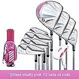 YPSMCYL Juego De Palos De Golf para Mujeres Club De Golf De Nivel De Entrada/Club De Golf Profesional De Acero Rosa 111 76 Mm Flex L (Sra.),Pink-Steel