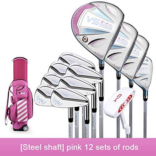 YPSMCYL Damen-Golfschlägerset Titangriff Damen-Golfschlägerset Für Die Linke Hand Stahlschaft (Profi) / Carbonschaft (Einstiegsmodell) Mit Stangentasche,Pink-Carbon