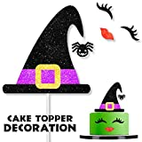 Halloween Witch Cap Cake Topper Decorations with Eyelashes Wing Lip Picks for Halloween Scary Theme Baby Shower Happy Birthday Party Decor Supplies
