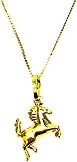 Collana Donna in Oro Giallo 18kt (750) Catenina Veneta Pendente Cavallo Cavallino Rampante Lucido - Ragazza Bambini