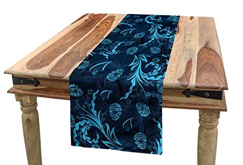 ABAKUHAUS Blauw Tafelloper, Damast Geïnspireerd Abstract, Eetkamer Keuken Rechthoekige Loper, 40 x 180 cm, Indigo Aqua