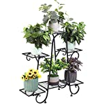unho 6 Potted Metal Plant Stand Indoor, Tiered Flower Storage Shelf Planter Display Rack Home Garden Decor (Black)