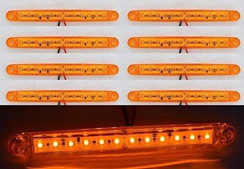8 pièces 24 V 12 LED côté avant Marqueur Ambre Orange LED pour camion remorque Caravane