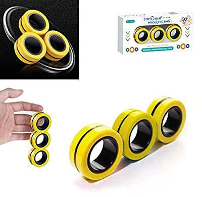 TornadoZ Magnetic Finger Ring Fidget Magnet Toys   Magnetic Blocks, Finger Hand Spinner Stacking Toy Set, Magnetic Bracelet Magic Ring for Stress Relief, Anti-Anxiety, Autism   Kids Adults Teen by TornadoZ