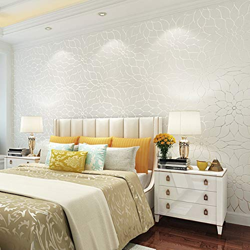 Jidan 1M 9M Dreidimensionale Lotus Printed nichtgewebte Tapete DIY Staubdichtes Haushalt Wohnzimmer-Wand-Hintergrundmaterial (Color : Yellow, Size : 900x53cm)