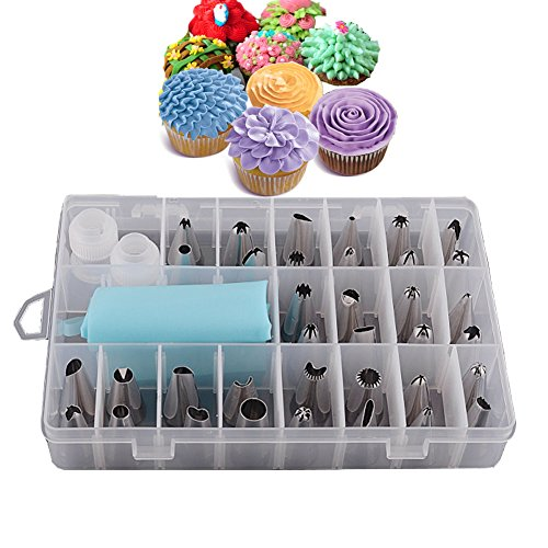 Jatidne 24pcs/Set Flower Piping Nozzles Set Stainless Steel Icing Kit with...