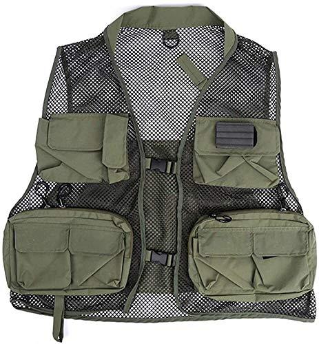 Safety vests LQ La Pesca con Mosca, Chaleco Multi Bolsillos Pesca Chaleco de Malla de Verano Gilet Acampar al Aire Libre de la Chaqueta Ajustable (Color : Green, Size : One Size)