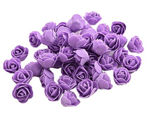 Demarkt 50x Rosen Blütenköpfe Deko Blütenköpfe für Hochzeit Wohnzimmer 3-3.5cm Lila