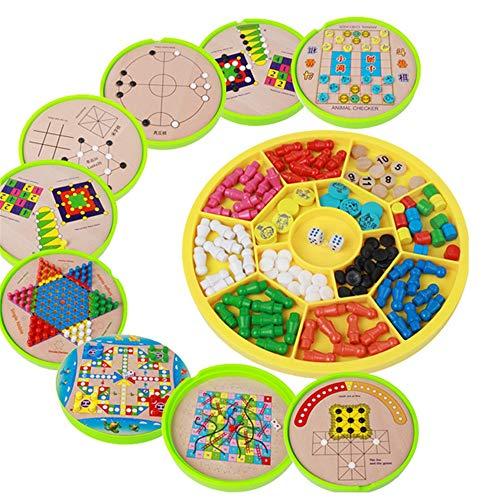 QinWenYan Chinesische Dame Kinder Bausteine Multifunktions-16-in-1 Checkers Fliegen Backgammon Brettspiel Spielzeug Kinderspielzeug (Farbe : True Color, Size : Free Size)