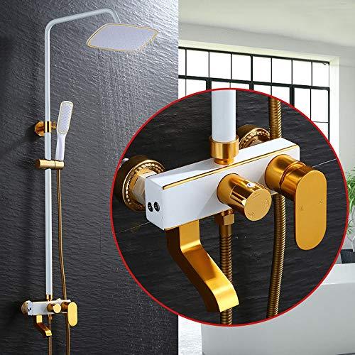 DAMO&GUYAN Doucheset, bad- en douchekraan in Europese stijl, douchecabine, douchecabine met regendouche, goud en wit