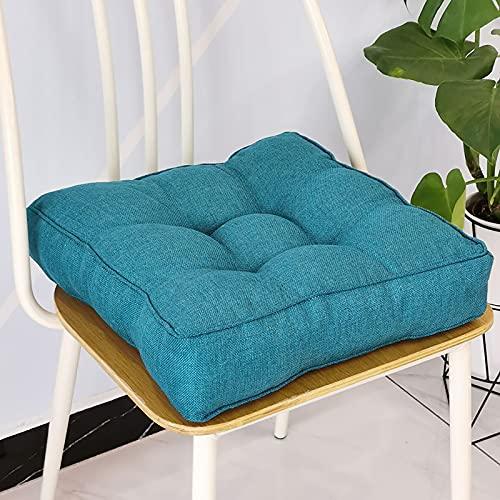 KTYRONE Cojines De Almohadas De Asiento De Piso Cuadrado Pufza De Cojín De Suelo, para Sala De Estar Sofá De Dormitorio De Yoga,Azul,40x40cm(16x16inch)