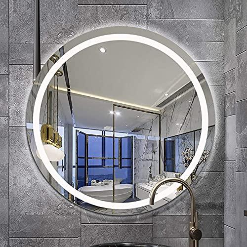 XCTLZG Espejo retroiluminado Redondo, Espejo de baño LED Iluminado, Espejo de tocador de Montaje en Pared antivaho para Hotel/Dormitorio/salón - Diámetro: 600 mm, 700 mm, 800 mm
