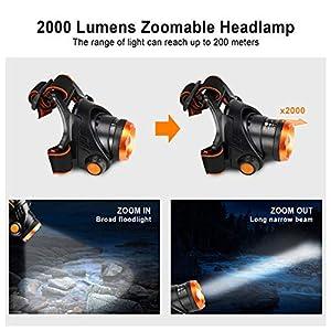 OMERIL Linterna Frontal LED, Linterna Cabeza USB Recargable 4000mAh, 90° Ajustable y Zoomable Luz Frontal con 3 Modos de Luz, Frontal LED para Camping, Excursión, Pesca, Caza, Ciclismo - IPX4