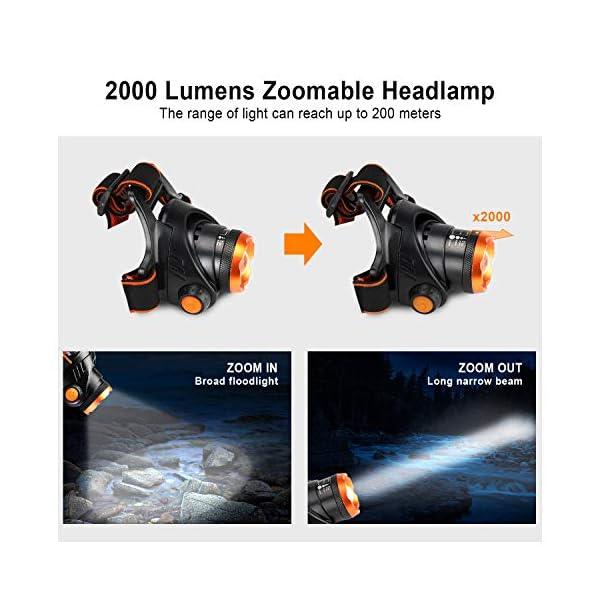 OMERIL Linterna Frontal LED, Linterna Cabeza USB Recargable 4000mAh, 90° Ajustable y Zoomable Luz Frontal con 3 Modos de… 1
