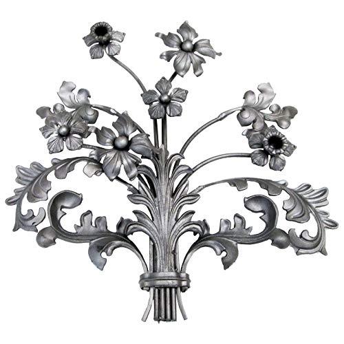 XXL Vintage Zaun- Gartendeko 590 x 560 mm Blume Blumenstrauß Gußeisen Deko Element Shabby Chic von SO-TOOLs®