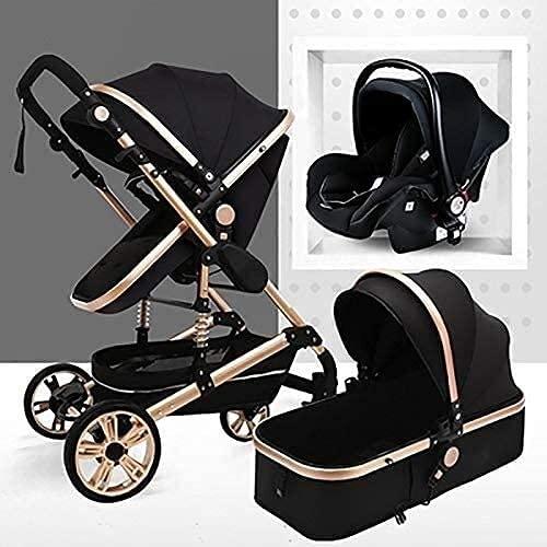 BAIW - Cochecito 3 en 1, cochecito plegable de lujo, cochecito de primavera a prueba de golpes, cochecito de alta vista, con cuna de bebé (color: negro)