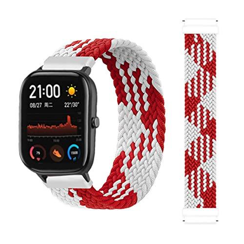 Correas De Reloj De Nylon Banda Trenzada 42 / 46mm Smart Watch Pulsera Smart Watch Correa Correa Reloj (Band Color : Red White)