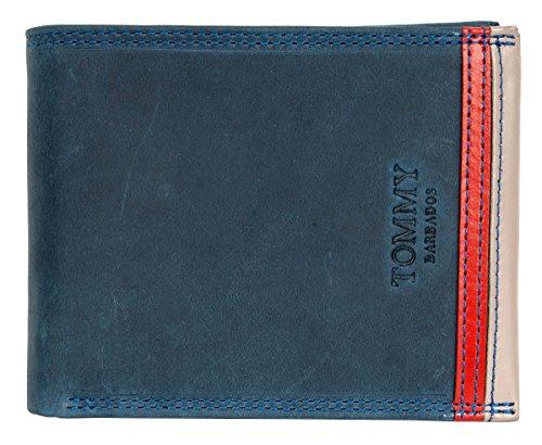 Portafoglio in vera pelle blu scuro Tommy Barbados con striscia rossa all'interno e all'esterno