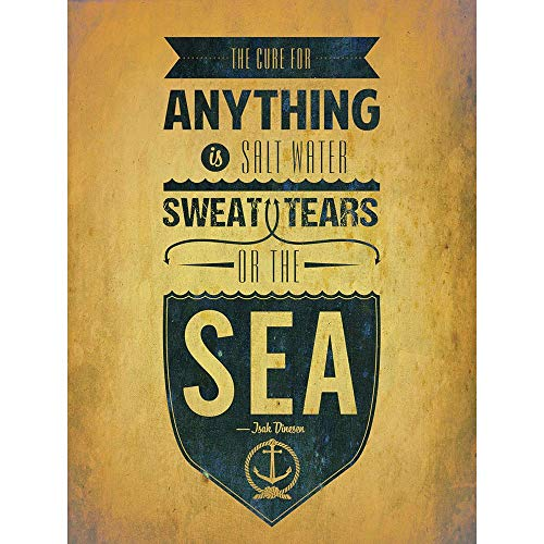 Wee Blue Coo Cure for Anything Salt Water Sweat Tears Sea Quote Typography Unframed Wall Art Print Poster Home Decor Premium