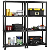 VonHaus 4 Tier Plastic Shelving Unit Pack of 2 - Weatherproof Shed Storage - Lightweight, Compact & Easy to Build