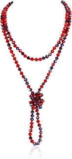 Hand Knotted Beads Endless Long Statement Necklace - Handmade Versatile Beaded Strand Lariat Multi Layer Infinity Wrap 60