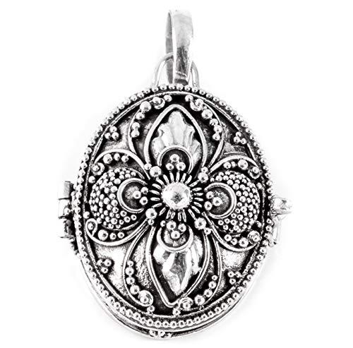 Windalf Vintage Schmuck-Anhänger Nadia 3.3 cm Foto-Medaillon mit zarter Ornamentik Handarbeit 925 Sterlingsilber