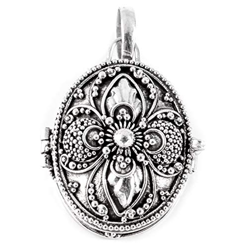 Windalf Vintage Schmuck-Anhänger Nadia 3.3 cm Foto-Medaillon mit zarter Ornamentik Handarbeit 925...