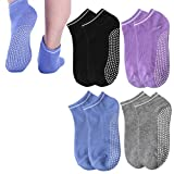 nuoshen 4 Pairs Non Slip Skid Yoga Socks, Silicone Dot Grip Socks