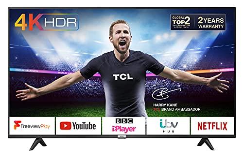 TCL 43P610K 43-Inch 4K Smart TV 3.0 Ultra HD - Freeview Play / BBC iPlayer / Netflix / YouTube / Smart HDR, Dolby Audio, Wi-Fi ,2*HDMI, 1*USB Port, Slim design, Black