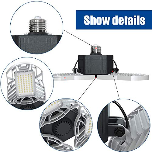LED Garage Lights E26/E27 60W Panels Adjustable Trilights Garage Lights 6000lm Ceiling Light for Workshop Warehouse (No Motion Activate) 6