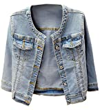 KEDERA Women's Collarless Denim Jackets Plus Size Three Quarter Sleeve Stretch Short Jeans Coat (Blue, Medium)