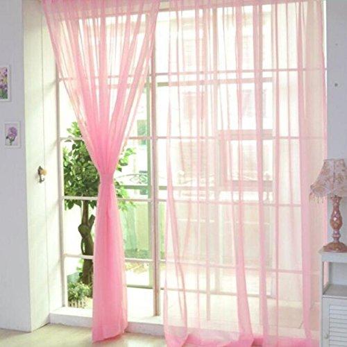 Cortinas de tul de color, para ventanas y puertas, 2 piezas, tela, Rosa, Medium