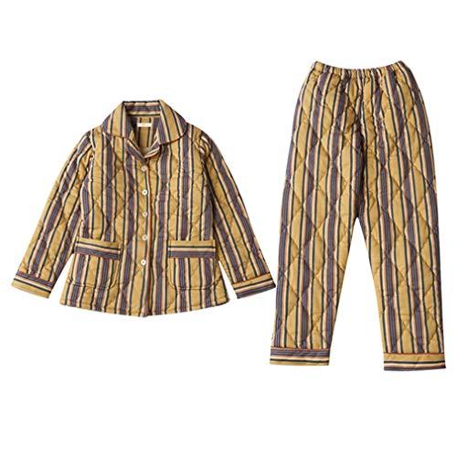 INSTO Pijamas de Mujer de Algodón Grueso Ropa de Dormir Otoño Invierno Rayado Caliente Homewear Homewearwearwear,Amarillo,L