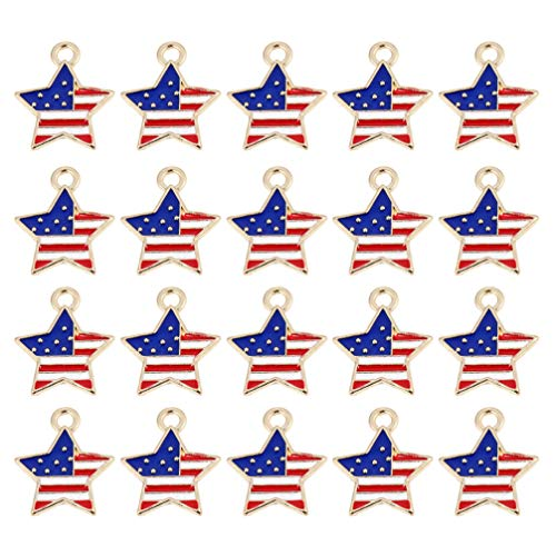 PRETYZOOM Colgante de bandera americana con colgante de Pentagrama de esmalte de bandera americana, colgante patriótico de esmalte para Día de la Independencia, accesorio de joyería, 20 unidades