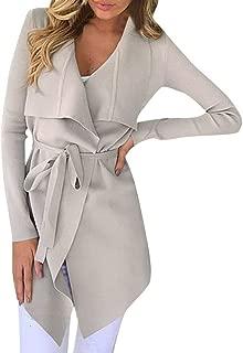 Women's Open Front Cardigan Long Sleeve Waterfall Collar Trench Coat Outwear Jacket