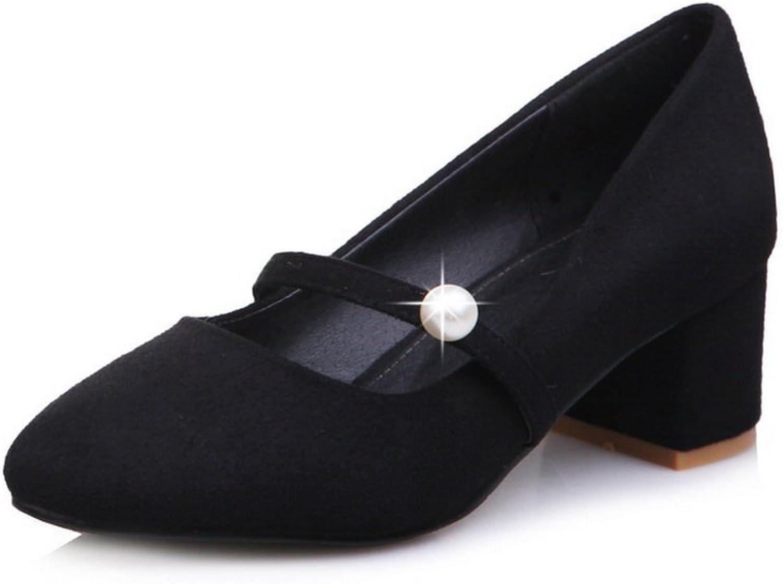 BalaMasa Womens Beaded Chunky Heels Square-Toe Suede Pumps shoes