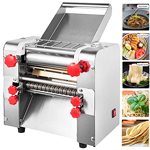 Minneer 2200W 110V Electric Commercial Pasta Maker Machine with Stainless Steel 70LBS H Noodle Dough Roller Maker for Pasta Dumpling Spaghetti Multi-function Automatic Pressing Machine(Noodles 3 9mm)