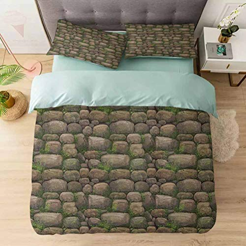 Aishare Store 3 Pieces Duvet Cover Set, Stones Covered with Moss Rock Formation Forest Peaceful Meditation Theme, Printed Duvet Cover Set with Ultra-Soft Microfiber, Dark Taupe Fern Green