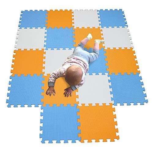 MQIAOHAM alfombra bebe carpet de espuma eva grande infantiles juguete manta parque play puzzle tapete Blanco-Naranja-Azul 101102107