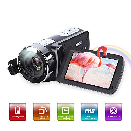 Video Camera Camcorder,Digital Camcorder Recorder with Beauty Face DIS FHD 1080P 24MP 18X Digital Zoom Camcorder 3.0 Inch LCD 270 Degrees Rotatable Screen YouTube Vlogging Camera Rechargeable
