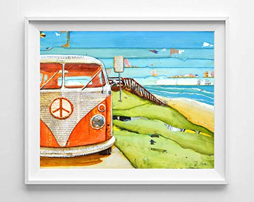 Orange Crush Vw Volkswagen Bus Van - Danny Phillips art print, UNFRAMED, Vintage retro nautical coastal beach and home decor painting poster, 8x10 inches