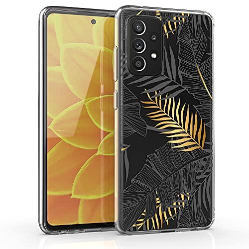 kwmobile Hülle kompatibel mit Samsung Galaxy A52 / A52 5G / A52s 5G - Handyhülle Silikon Hülle - Dschungel Gold Grau Transparent