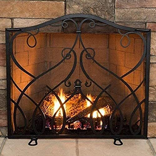 Great Features Of Fireplace Screens Black Single Panel, Indoor Outdoor Baby Pet Safety Spark Guard C...