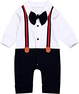 DOAM Newborn Baby Boy Gentleman Clothes,Infant Bow Ties Tuxedo Romper Formal Outfits