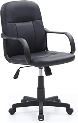 Hodedah Mid-Back, Adjustable Height, Swiveling Office Chair Upholstered in Black PU Leather