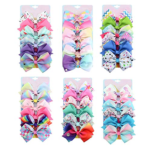 [6-Pcs/Set] 5 Inch Cute Mermaid Unicorn Rainbow Colorful Ribbon Hair Bow Alligator Clip Accessories Gifts for Toddlers Girls (Rainbow-B Series)
